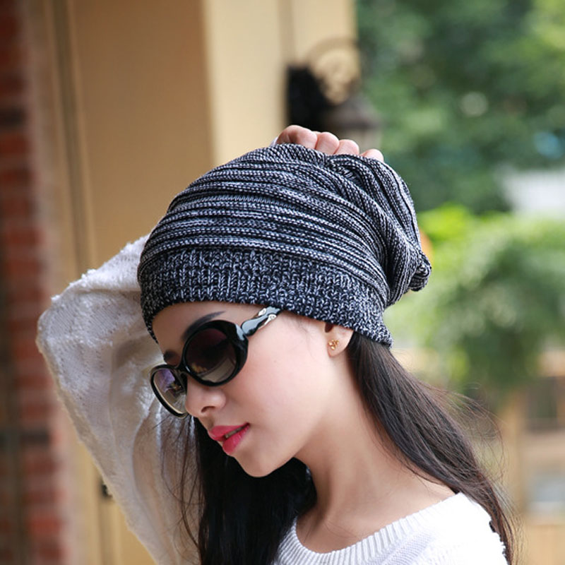 Hot Women Man Knitting Bonnet Beanies Hat Cap Winter Gradient Color Baggy Beanie Hats Knitted Warm Hip Hop Ski Caps Gorros winter women beanie curl all match crochet knitted hiphop hats warm ski hat baggy cap femme en laine homme gorros de lana 62