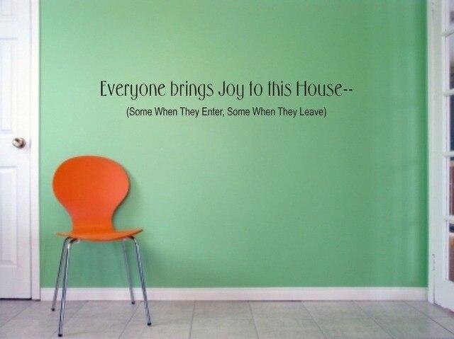 Slaapkamer Muur Quotes : Iedereen brengt vreugde om dit huis muur kunst quote woonkamer