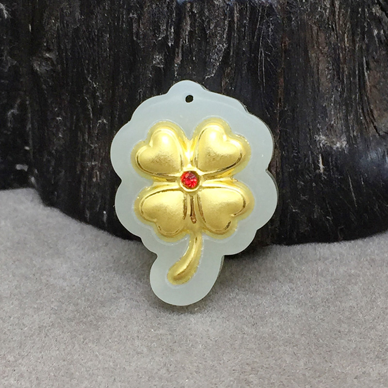 yu xin yaun Fine Jewelry 24KGold Hetian jade Pendant Lucky Four-leaf Blade Flower Necklace Pendant Blessing Lovers Gifts одежда для рыбалки xin fisheries blessing 131106