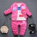 NUEVA Primavera de los bebés que arropan el sistema de Tres piezas de estilo recién nacido ropa casual ropa de manga larga 0 1 2 3 T