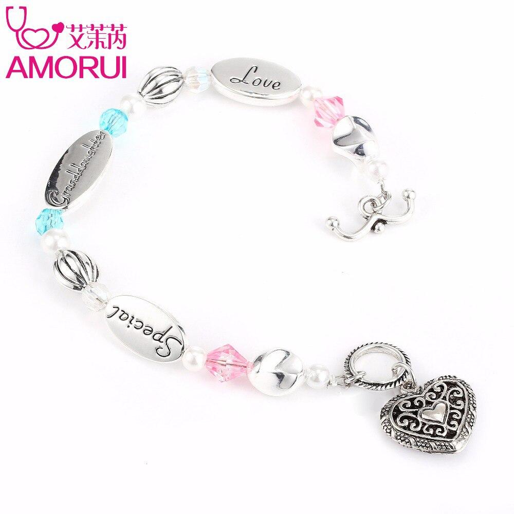 AMORUI Granddaughter Heart Charm Bead Bracelet Bijoux Femme Silver Pearl Special Love Bracelets for Women Pulseras mujer Jewelry