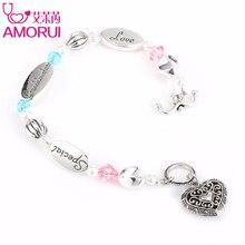 AMORUI внучка Любовь Сердце Шарм браслет из бисера Homme Bijoux Femme розовый/синий кристалл жемчуг серебро Браслеты для Для женщин подарок