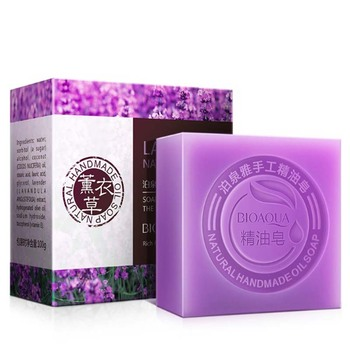 New 100g Lavender Natural Organic Herbal Whitening Handmade Soap Lightening Skin Remove Acne Moisturizing Cleansing Bath Soap