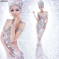 Women Fashion Stage Costume Clothes Formal prom party Trailing Dress Silver Sequins singer dancer star performance Dance wear
