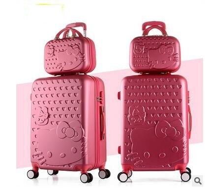 """Las Mujeres del gatito maleta Trolley 2 Casos bolsas De Viaje trolley Maleta con ruedas Con Ruedas de 20 """"22"""" 24 """"pulgadas Equipaje de Viaje Maleta"""