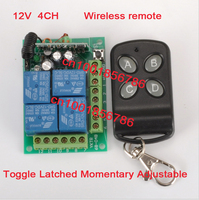 12V 4CH 1 Receiver Transmitter RF Wireless Remote Switch Control 315 433MHz Frequency Option