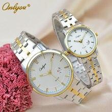 Onlyou marca relojes de lujo para mujer de los hombres reloj de cuarzo reloj de las señoras viste el reloj de pulsera correa de acero inoxidable 8861