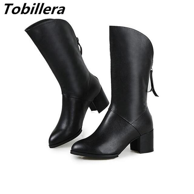 fotos oficiales f8fb8 6d487 € 78.32  Tobillera Tacones Medianos zapatos de Las Mujeres Botas de Media  Pierna de Otoño Invierno Más Nuevo Negro Señoras Cómodas Punta Redonda ...