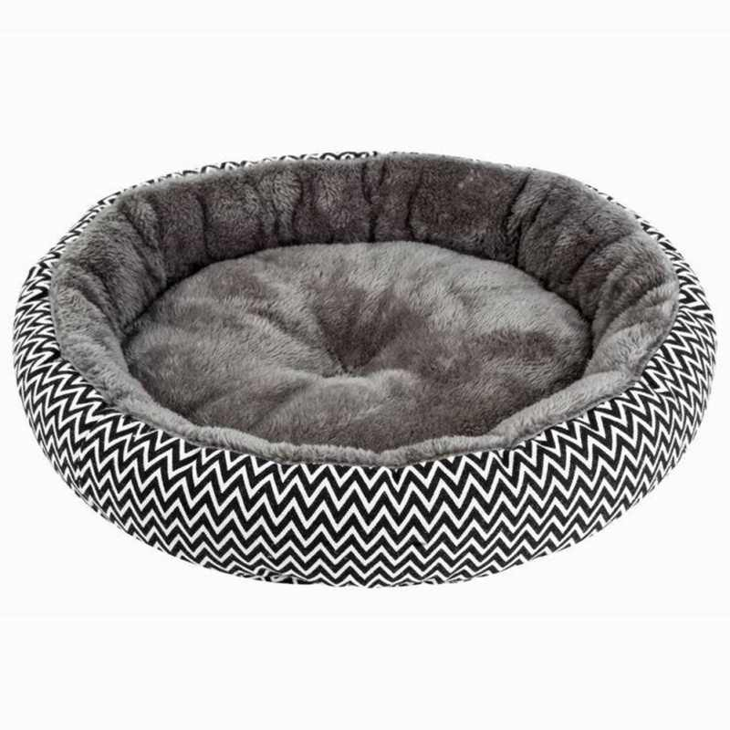 Nowa poduszka dla zwierząt domowych gruby dom dla zwierząt okrągłe łóżka dla zwierząt ciepły arktyczny aksamit oddychające małe psy koty Mat V wzór wysokiej jakości