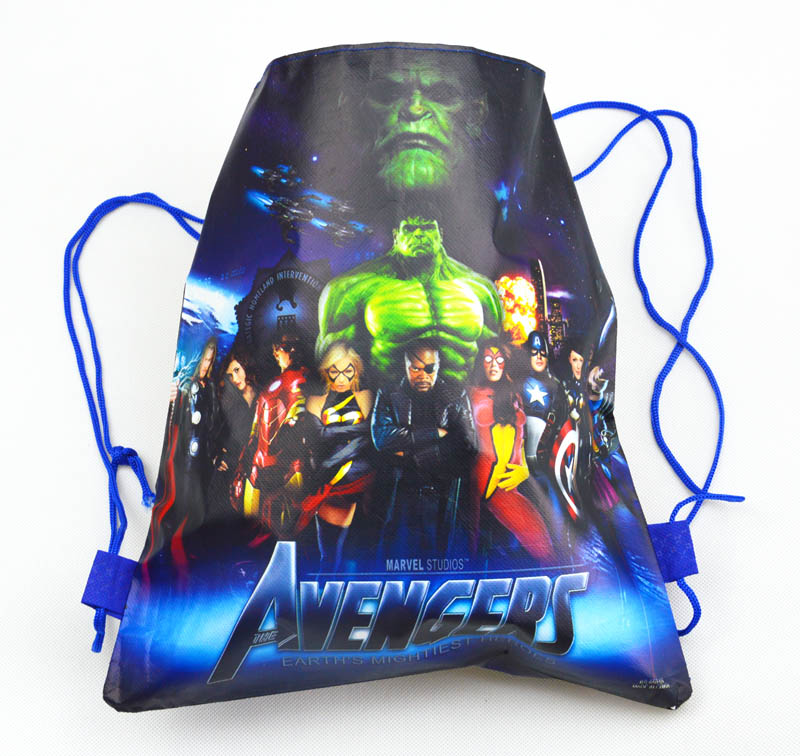 Image 4 - 20pcs 37*24cm Avenger hero non woven fabrics bags drawstring backpack,schoolbag gift bags-in Gift Bags & Wrapping Supplies from Home & Garden