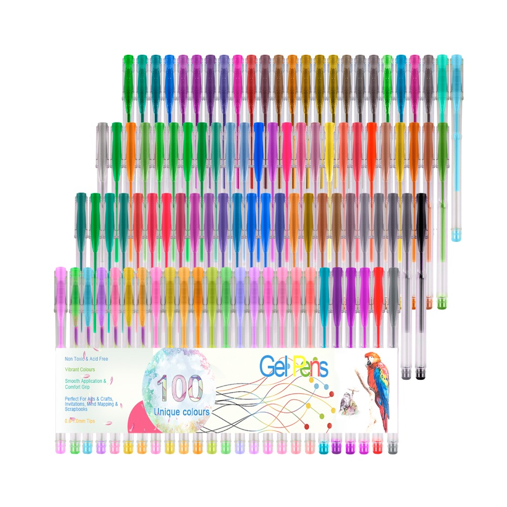 100 Colors Highlighter Pen Gel Pens For Art Drawing For Glitter Neon For Metallic Color for School Children Gifts image