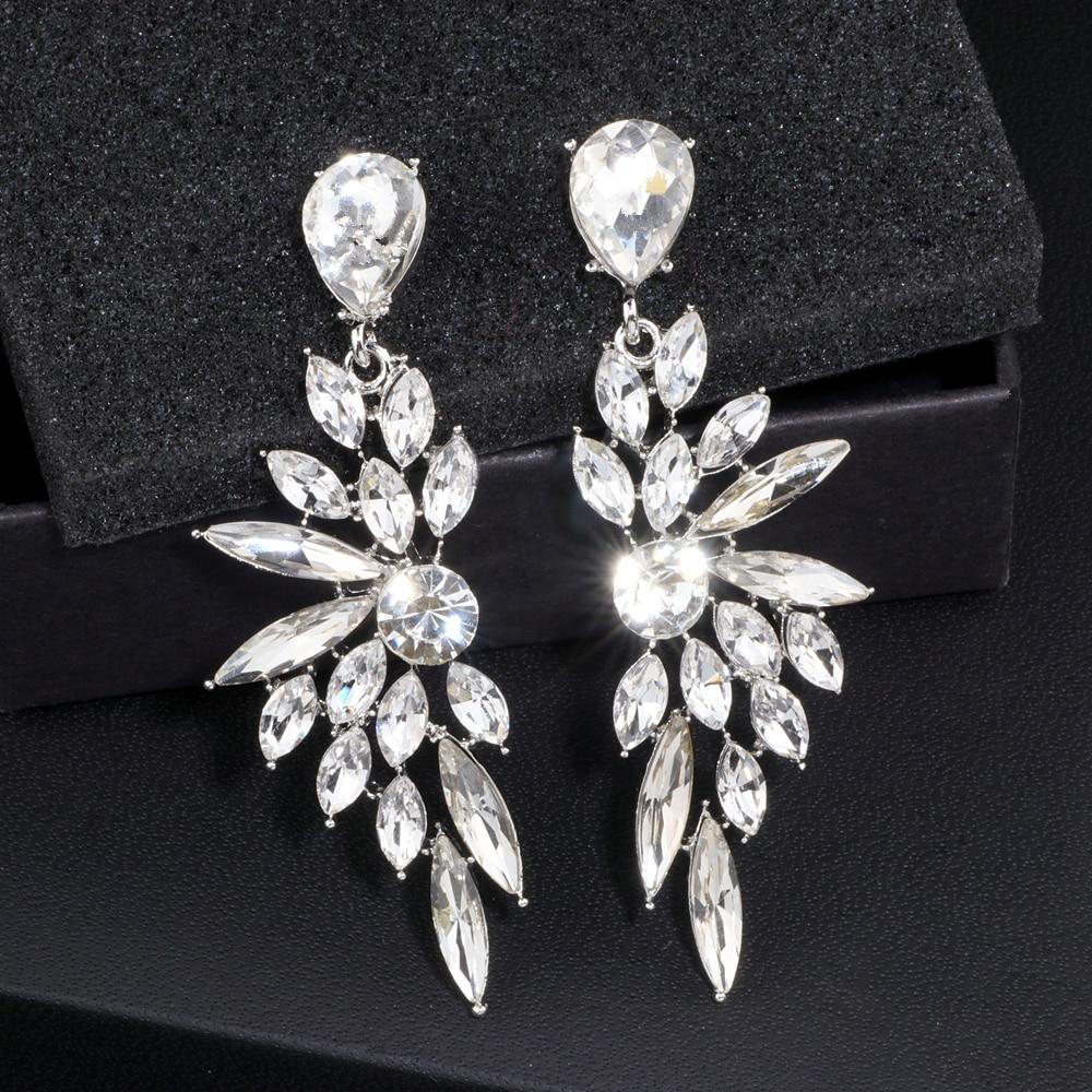 2018 Elegante Feder Form Kristall Ohrringe Für Frauen Silber Farbe Braut Hochzeit Lange Baumeln Ohrring Modeschmuck Wx060