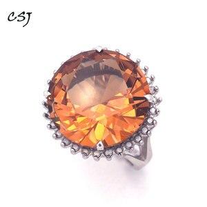 Image 2 - Женское кольцо с зултанитом CSJ, ювелирное изделие из стерлингового серебра 925 пробы с большим камнем 13 карат, 15 мм, с круглой огранкой, для свадебной вечеринки