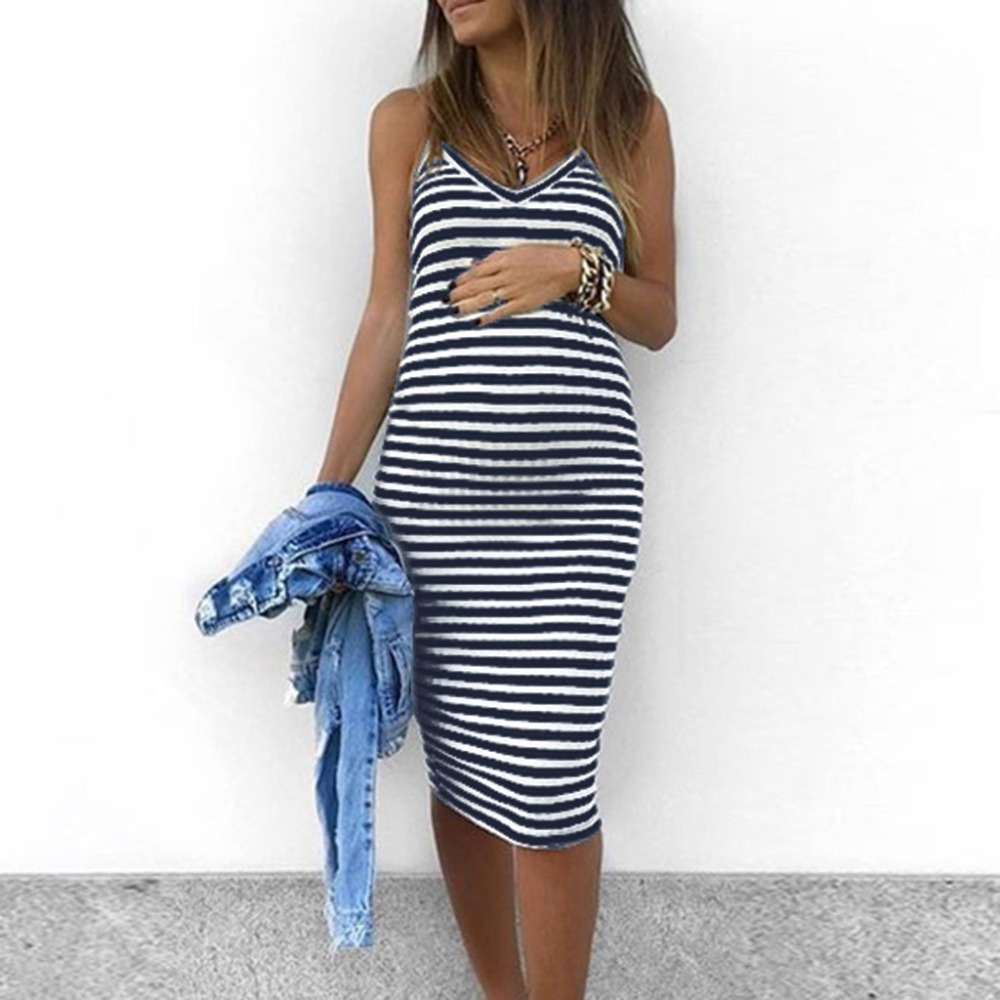 Maternity Clothing Mother & Kids Sleeveless Sexy Striped Maternity Dress Bohemia Cotton Pregnant Dress Summer Pregnancy Shoot Dress 2019 Vestidos Dropshipping 2 Extremely Efficient In Preserving Heat