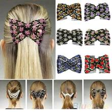 Hot Chic Stretch Rose Flower Bow Glass Bead Hair Head Comb Cuff Double Insert Clips  22KQ
