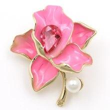 WEIMANJINGDIAN Factory Direct Sale różowe/fioletowe/czerwone emaliowane i kryształowe kwiaty broszki dla kobiet
