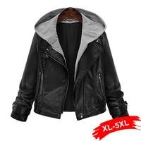 Plus Size Hooded Pu Leather Jacket Coat Short Black Motorcycle Hoody Jacket 4Xl 5Xl Classic Basic