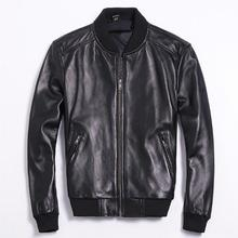 Free shipping.Brand classic man genuine leather coat,men's s