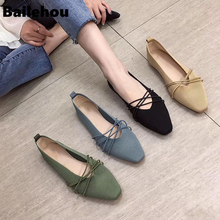 Bailehou 2019 New Fashion Women Flats Ballet Shoes Breathable Knitted Round Toe Soft Shallow Slip On Loafers Flat Ballerina Shoe недорого