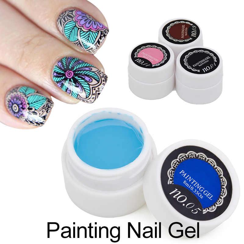 1 pièces 3D paillettes 12 acrylique coloré peinture UV Gel Vernis à ongles Art Vernis Semi Permanent peinture dessinée Bio Gel