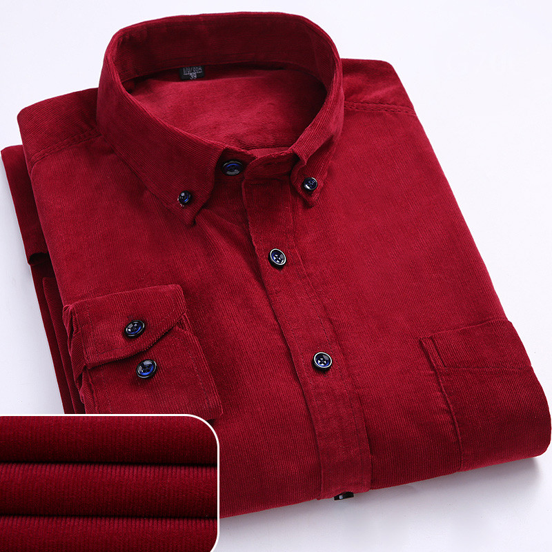 Autumn/winter Warm Quality 100%cotton Corduroy casual shirts Men's Polo Shirts