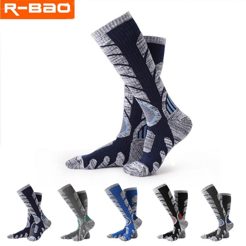 R-BAO 1 Pair Autumn Winter Cotton Outdoor Mountaineering Hiking Ski Socks Thicken Warm Half Sports Socks For Women Men Wholesale