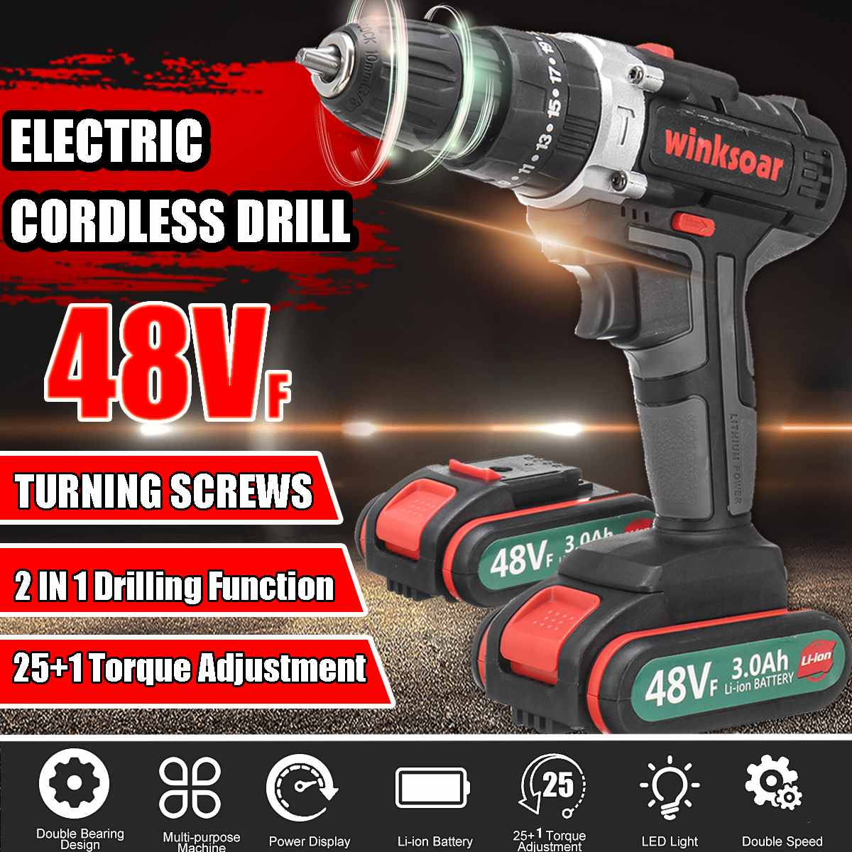 48V Cordless Electric Screwdriver Impact Drill 25+1 Torque Adjustment Rechargeable LI-ION Batteryx2 Electric Drill 2-Speed Tools