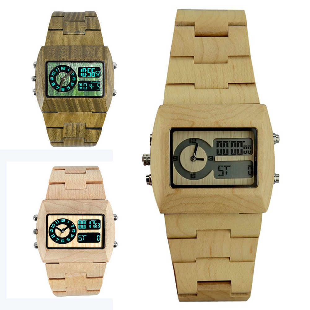 2017 New Arrival  Man Wooden Watch Creative Gift Bangle Wood Watch With Digital LED Display Role Men Relogio Masculino Watches creative wooden bamboo wrist watch genuine leather band strap nature wood men women quartz casual sport bangle new arrival gift