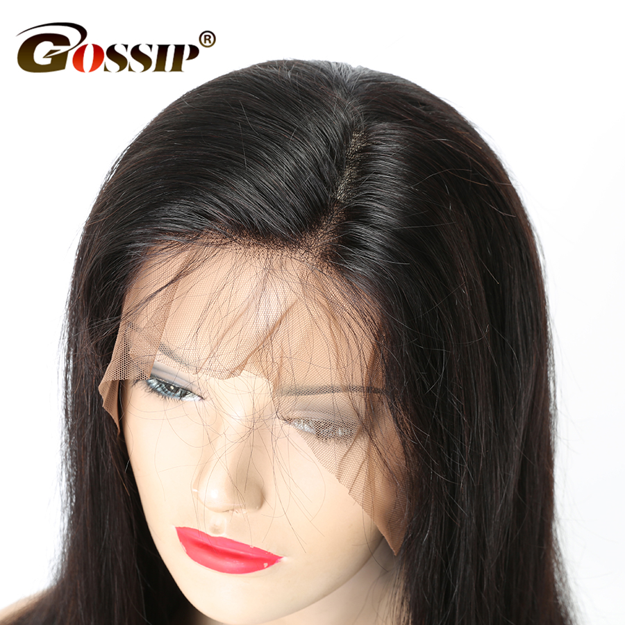Gossip Lace Front Human Hair Wigs For Black Women Peruvian Hair Straight Wigs With Baby Hair Pre Plucked Swiss Lace Wig Non Remy