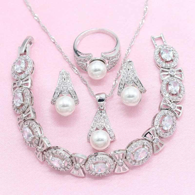 White Freshwater 925 Silver Bridal Jewelry Sets for Women Earrings Bracelet Necklace Pendant Ring Birthday Gift Box