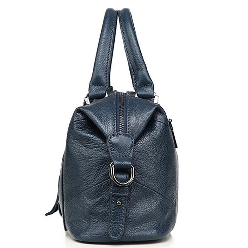 Nuevo 100% bolso de cuero genuino para mujeres grandes bolsos de cuero de vaca bolsos de mano para mujeres grandes bolso de hombro bolso de mensajero-in Cubos from Maletas y bolsas    3
