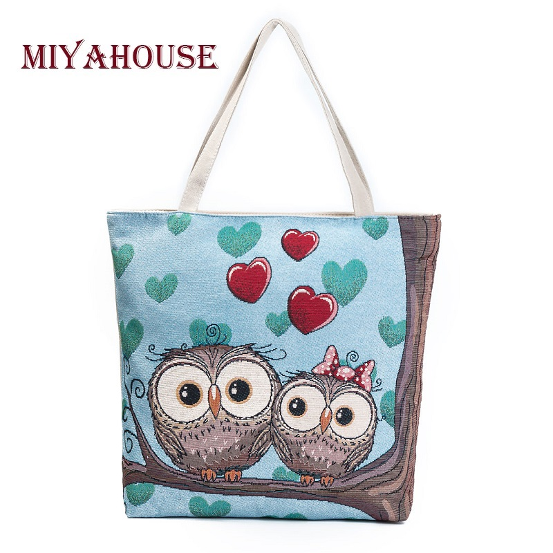 Miyahouse Cartoon Owl Printed Shoulder Bag Women Large Capacity Female Shopping Bag Canvas Handbag Summer Beach Bag Ladies miyahouse cute cat printed beach bag women large capacity shopping bags vintage female single shoulder bag canvas ladies handbag