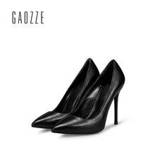GAOZZE Brand Women Pumps Genuine Leather Shoes 10CM sexy high heels female black shoes women shallow
