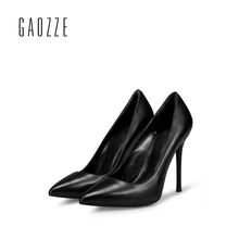 GAOZZE Brand Women Pumps Genuine Leather Shoes 10CM sexy high heels female black shoes women shallow mouth stiletto shoes