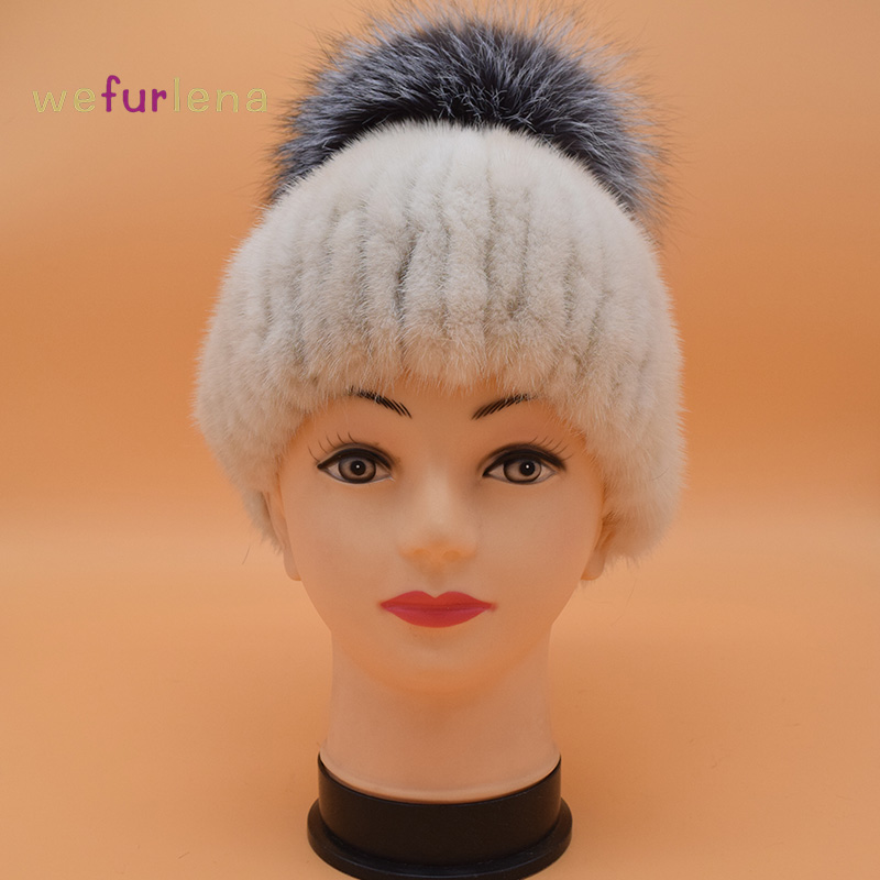 Winter Mink Hat for Women Genuine Fox Fur Pompom Hats For Women Winter Cable Knitted Cap Female Real Mink Fur Skullies & Beanies