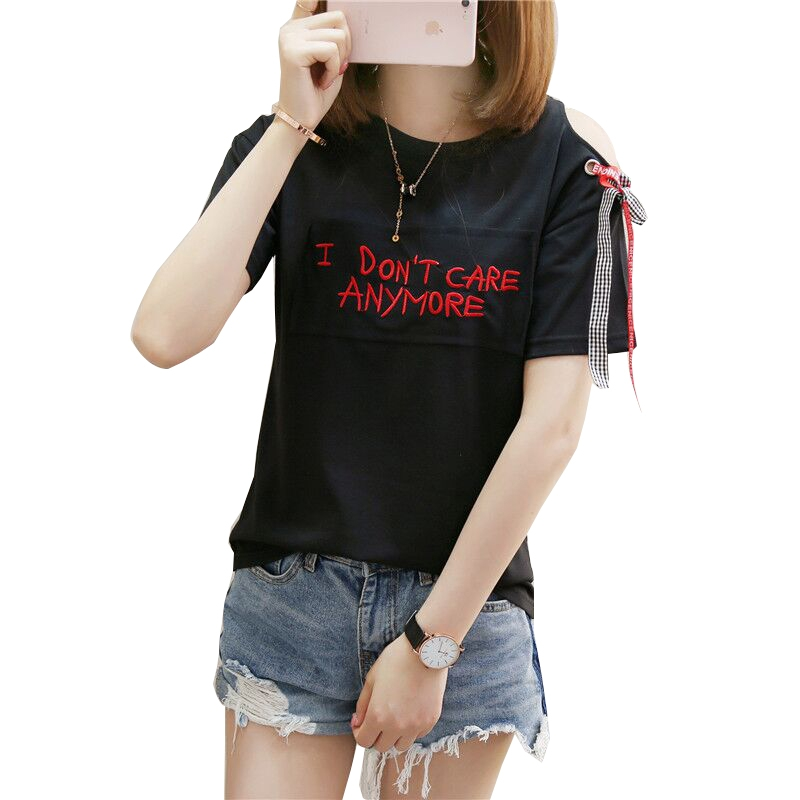 Gkfnmt Women T Shirts 2018 Summer Short Sleeve Off Shoulder Lace Up Tops Casual Cotton Fashion Tees Shirt Femme Black White