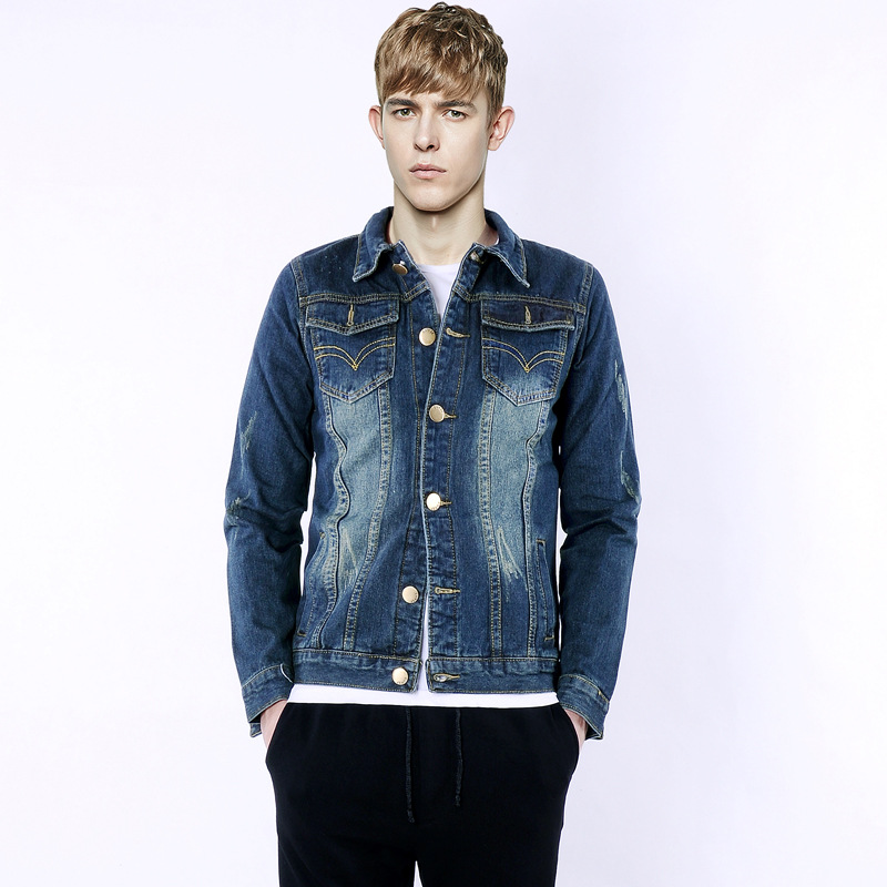 2016 New arrive Mens Jean Jacket Autumn Cotton Slim Fit Vintage Denim Men Jacket Big Size 4XL Washed Jacket Overcoat