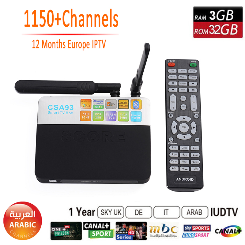 Prix pour 3 GB RAM 32 GB ROM CSA93 Android 6.0 Tv Box 1 Année IPTV Europe Amlogic S912 Octa core 4 K WiFi BT 4.0 2 GB/16 GB Smart Set Top Box