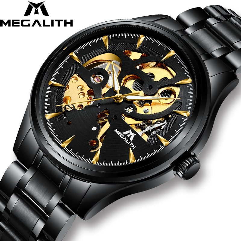 Automatic Mechanical Watches Men MEGALITH Sport Waterproof Automatic Watch Steel Strap Luminous Hands Men Watches Relojes Hombre