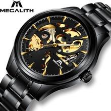 אוטומטי מכאני שעונים גברים MEGALITH ספורט עמיד למים אוטומטי שעון פלדה ידיים זוהרים רצועת גברים שעונים Relojes Hombre