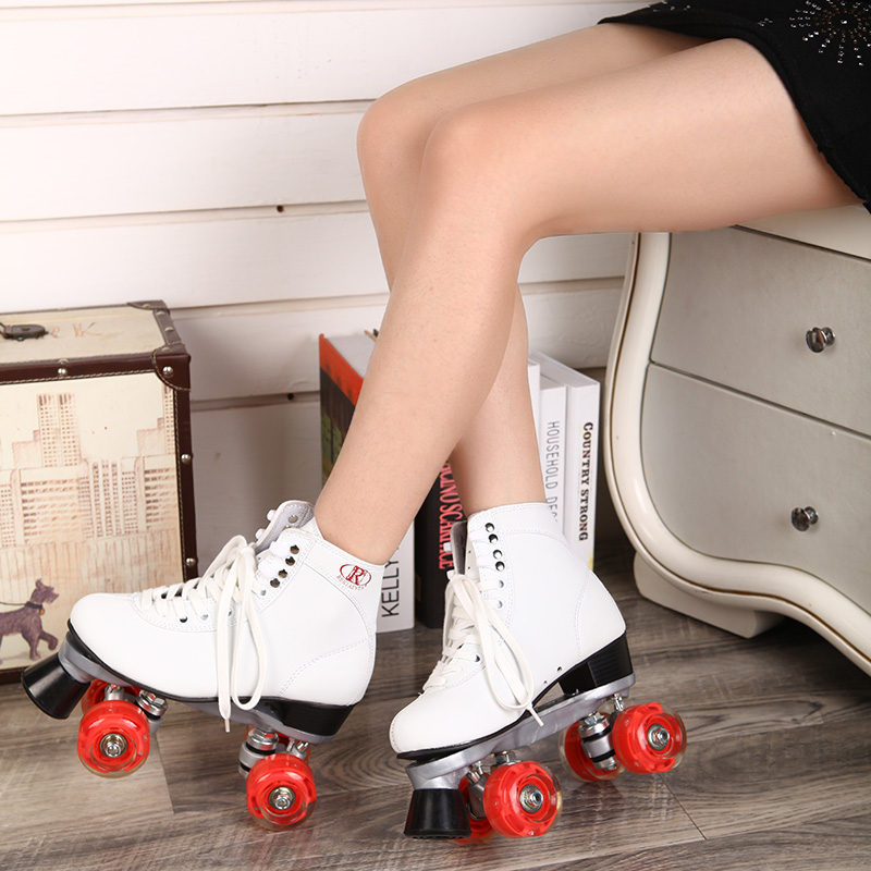 RENIAEVER Roller Skates Double Line Skates White Women Female Lady Adult With Red LED 4 Wheels Two Line Skating Shoes Patines reniaever double roller skates skating shoe gift girls black wheels roller shoe figure skates white free shipping