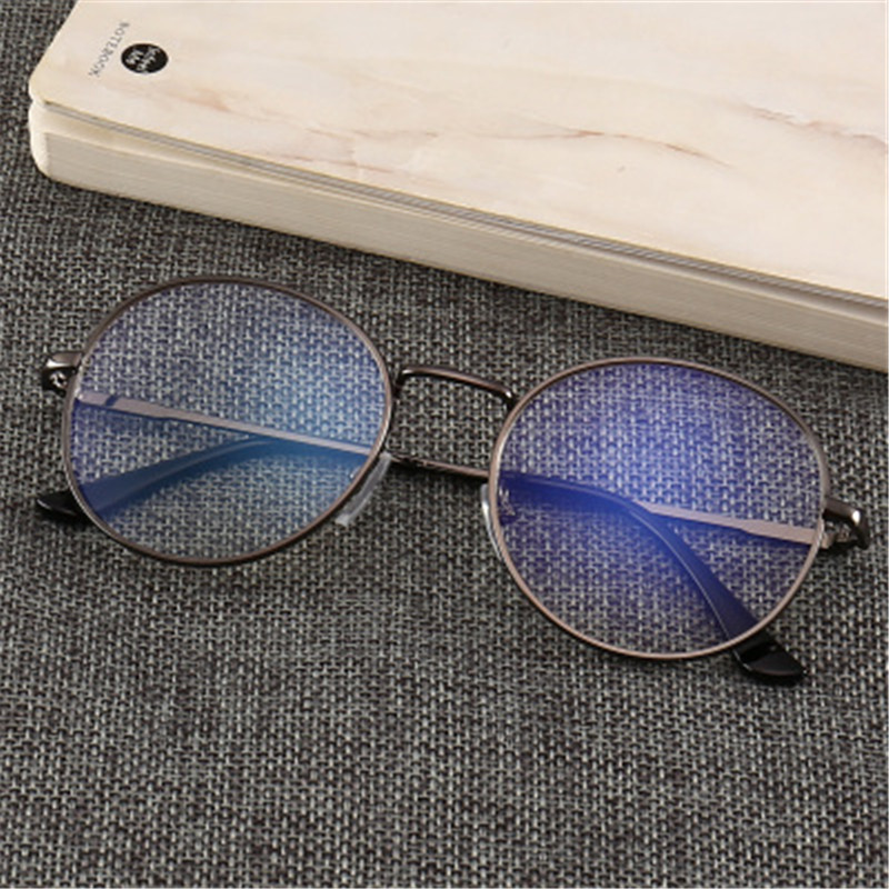 Computer Glasses Men Spectacle Frames Anti Blue Light Goggles Anti Glare Eyeglasses Frame Women Round Clear Lens Fake Glasses