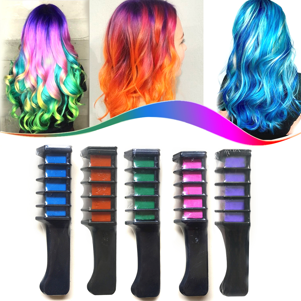 6Pcs/Set Multicolor Crayons For Hair Color New Fashion Design Hair Cream Pastel Mascara Temporary Dye Chalk For Hair With Comb