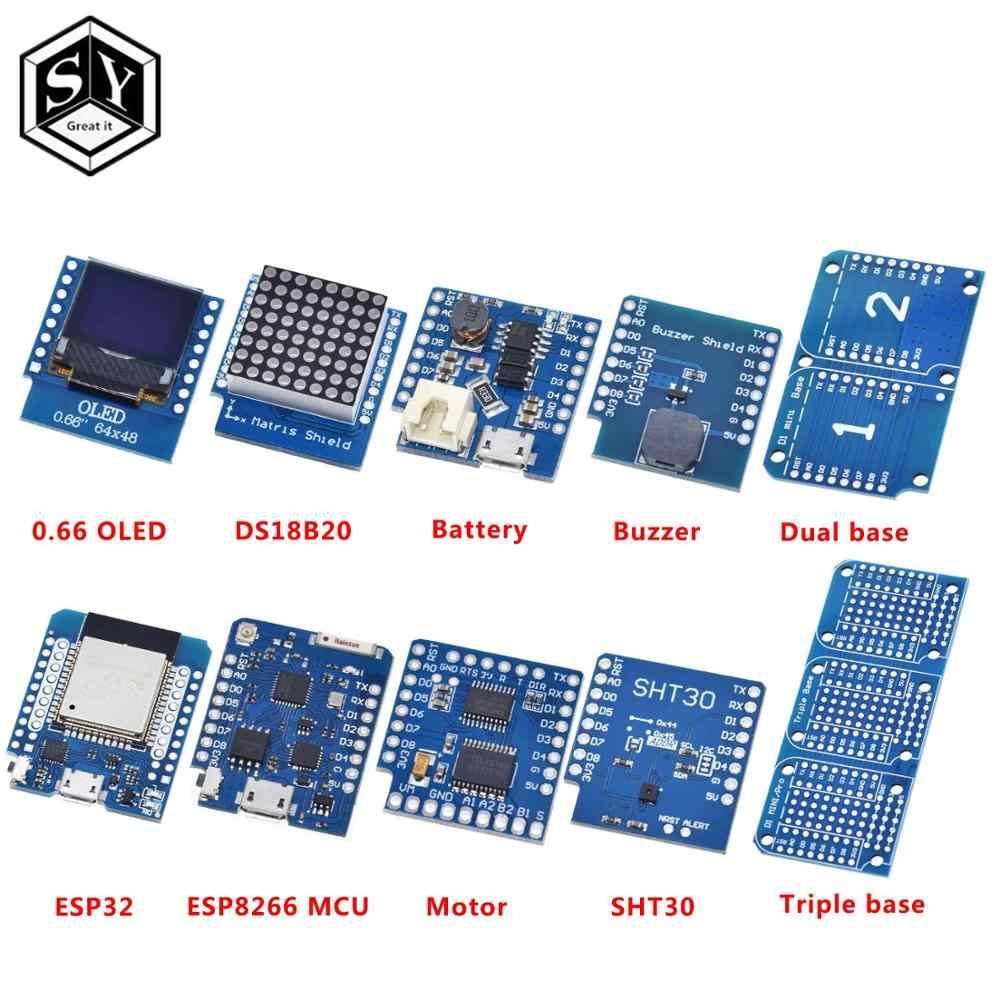 ESP8266 D1 Mini Pro WiFi carte de développement NodeMcu 0.66 OLED DHT11 DHT22 buzzer relais DS18B20 ESP32 moteur pour kit de bricolage WeMos
