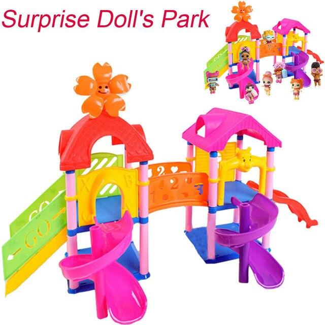 2018 Chegada Nova Princesa Boneca Parque Casa de Jogo Grande Surpresa de Slides Playset Toy Presente para LOL Boneca de Brinquedo Garoto Melhor educação Brinquedo de Presente