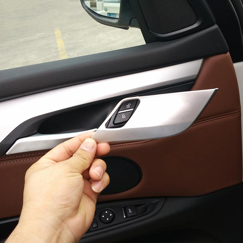 4pcs/set ABS Chrome Safety Door Lock Cover Trim For BMW X5 X6 F15 F16 2014 2015 2016 Car Accessory nitro triple chrome plated abs mirror 4 door handle cover combo