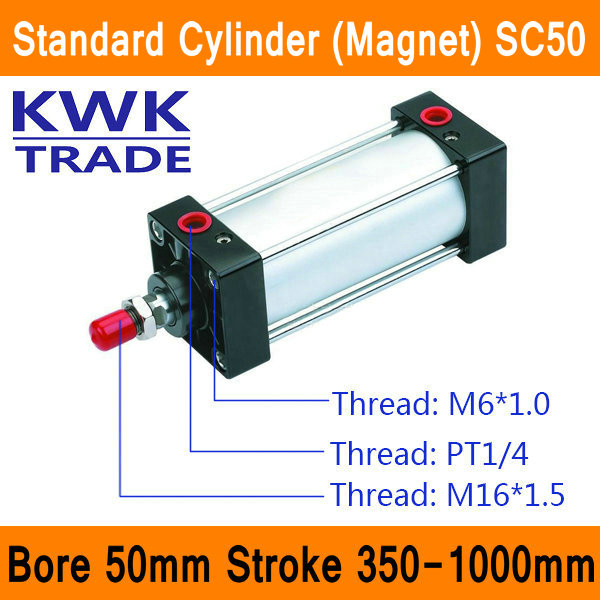 SC50 Standard Air Cylinders Valve Magnet Bore 50mm Strock 350mm to 1000mm Stroke Single Rod Double