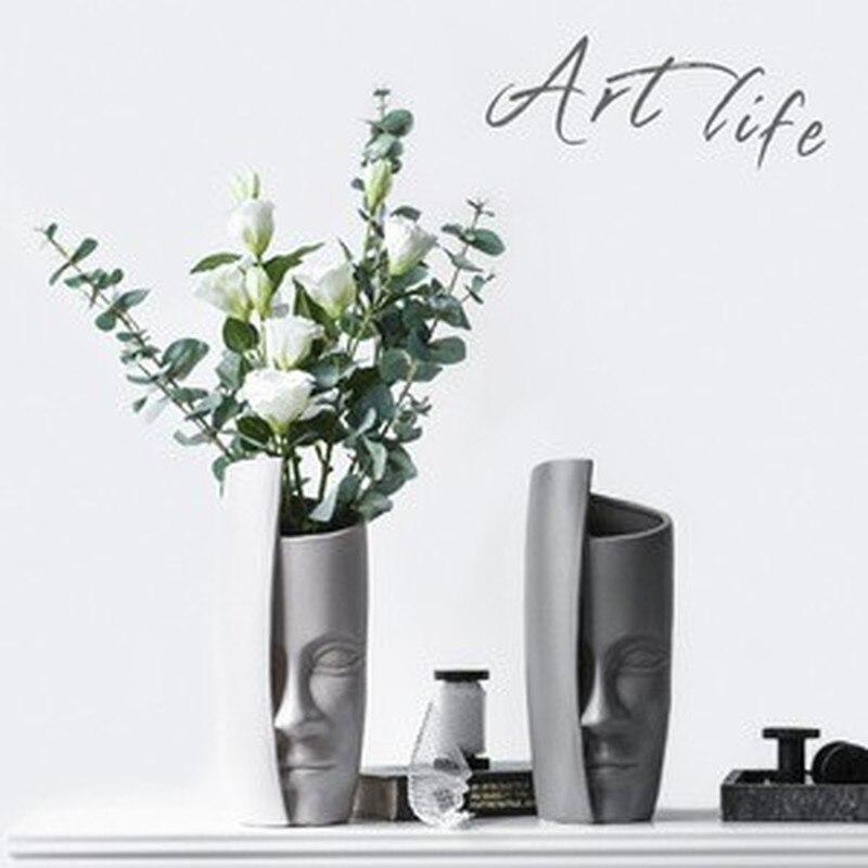Ev ve Bahçe'ten Vazolar'de Iskandinav Yüz Portre Sanat Vazo Oturma Odası Çiçek Düzenleme Seramik Çiçek yapay çiçek Kavanoz Porselen Çiçekler Figürler'da  Grup 1
