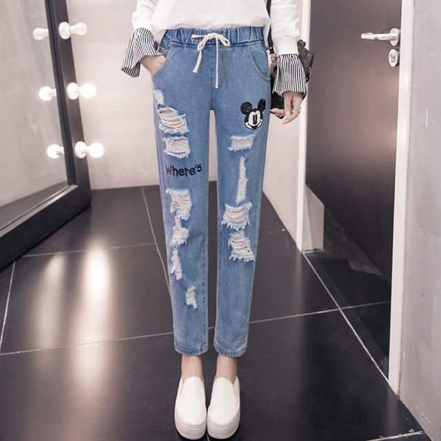 ed123afb3d0 Print Cartoon Mickey Jeans Woman Ripped Boyfriend Jeans For Women Destroyed  Distressed Boyfriend Jeans High Waist Straight Pants