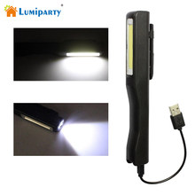 Lumiparty Mini USB Rechargeable LED Flashlight Super Bright White Led Inspection Lamp Pen Pocket Clip Work Torch Flashlight(China)